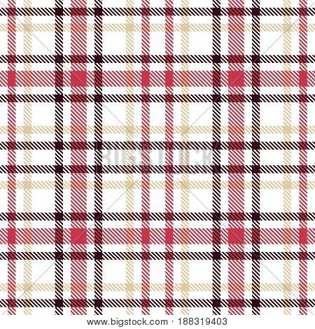 Red And Brown Tartan Seamless Vector Pattern. Checkered Plaid Texture. Geometrical Simple Square Bac