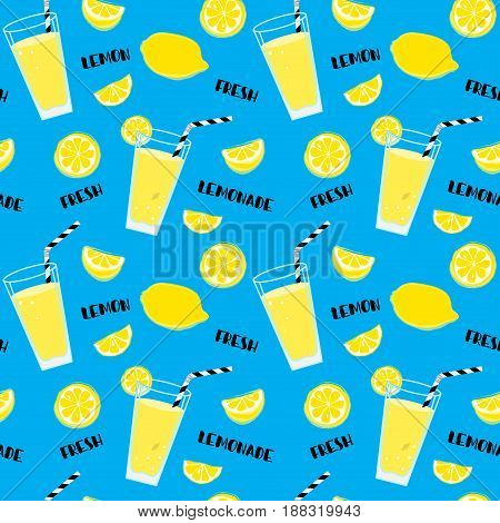 Lemonade Seamless Pattern With Yellow Lemons And Glass With Drinking Straw, Sipper, Bendie And Black