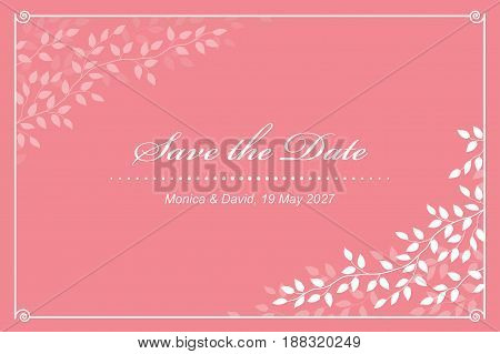 modern pink wedding invitation card with tree branches and leaves