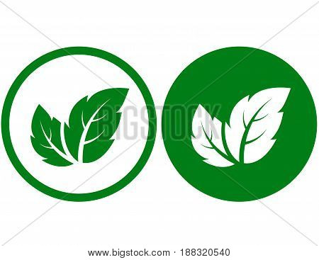two ecological sign with green leaves silhouette