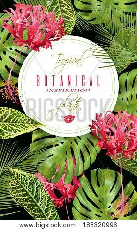 Vector botanical vertical banner with tropical leaves and red exotic flowers on black background. Design for cosmetics, spa, health care products, perfume. Can be used as wedding, summer background