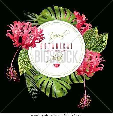 Vector botanical round banner with tropical leaves and red exotic flowers on black background. Design for cosmetics, spa, health care products, perfume. Can be used as wedding, summer background