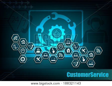dark blue background with the silhouette of a laptop and symbols customer service Internet