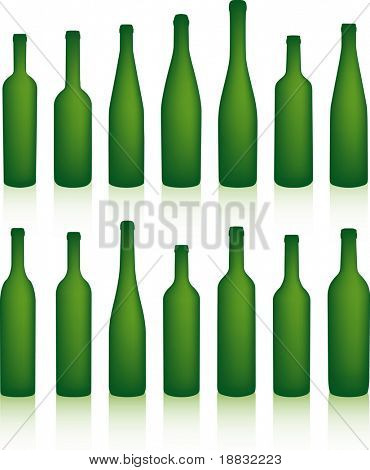 Empty green bottles with shadows