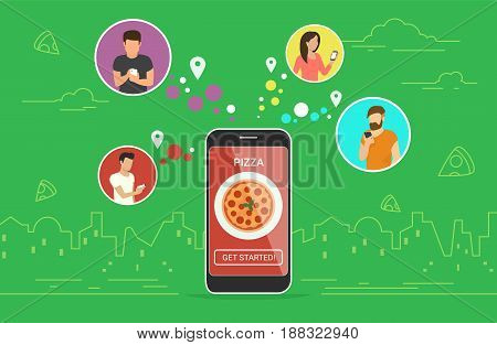 Ordering pizza online concept design. Flat vector illustration of young men and women in circle icons using smartphone mobile app for ordering tasty pizza pepperoni via application. Online food banner