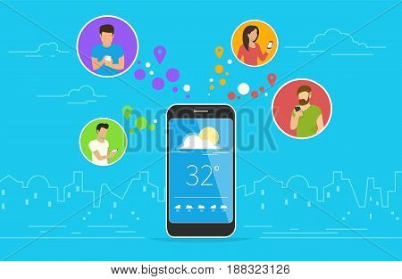 Weather forecast concept design. Flat vector illustration of men and women in circle icons using smartphone mobile app for tracking weekly weather forecast via application. Mobile technologies banner