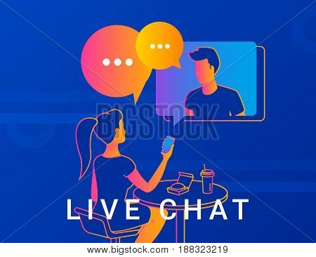 Live chat concept vector illustration of young woman sitting in cafe and having video conversation with her friend. Two people talking with gradient speech bubbles