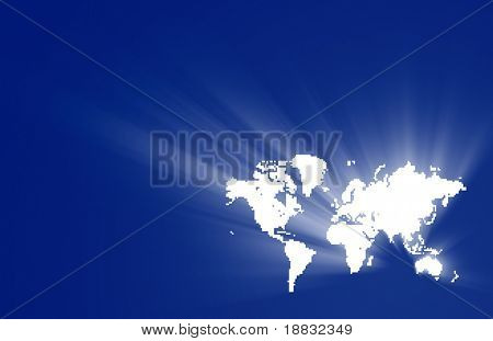 World map with square pixels with free space for text
