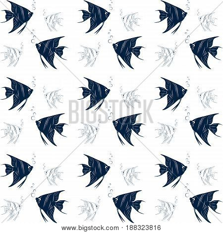 Seamless fabric. A Maritime theme. Blue. Ornament background texture wrapping Wallpaper greeting print. Fish. Vector shares.