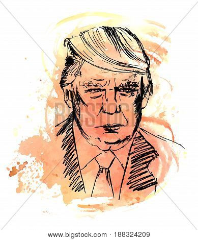 Madrid, Spain - March 17, 2017: a portrait of Donald Trump, American president. Hand drawn vector illustration on a sepia watercolor brush stroke background