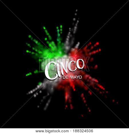 Cinco de Mayo. Multicolored explosive powder dye cloud. Vector festive illustration of pigment explosion and lettered label. Vibrant paint blast. Mexican holiday lettering.
