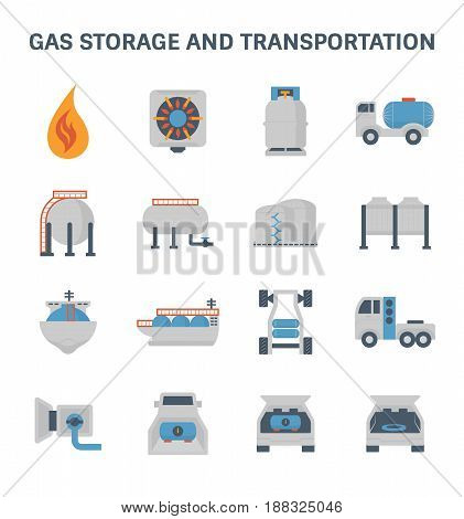 Gas storage and transportation vector icon set.