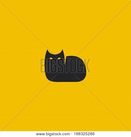 Black Cat. Minimal Styled Logo Template. Vector Illustration.