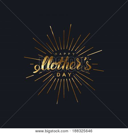 Happy Mothers Day. Vector holiday illustration of festive lettering with burst rays. Golden vintage label