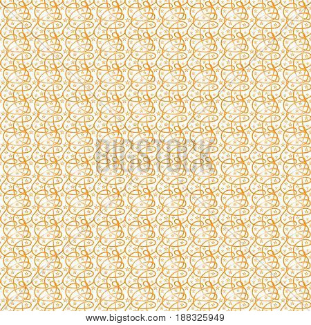 Vector illustration seamless texture of orange lines with a gradient interlacing in an abstract pattern and five-pointed stars of a small size on a white background.