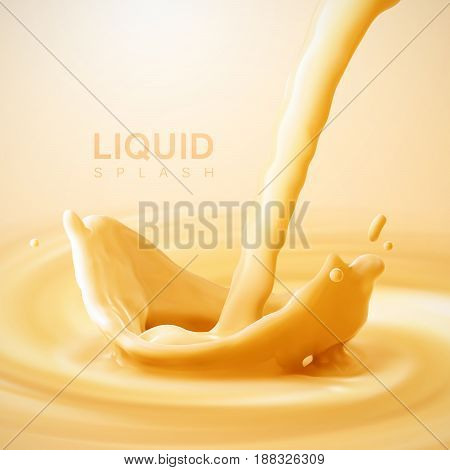 Pouring apricot flavor yogurt crown splash on swirling whirlpool creamy orange background. Vector 3d illustration for food dairy product ad poster