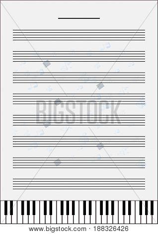 Blank Music Sheet Size A4 Vector Art