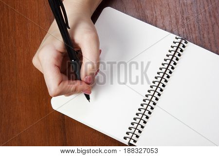 young woman hands hold opened notebook pages with black pen