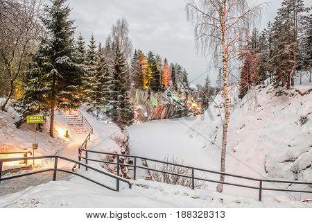Marble canyon in Ruskeala Karelia in winter Russia