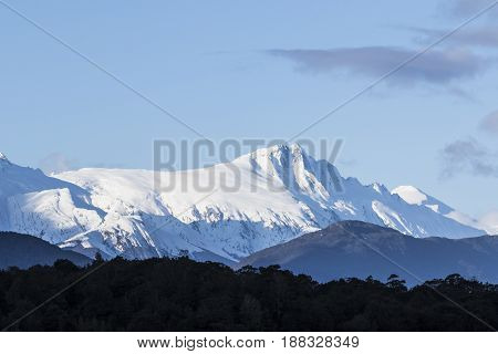 high snowcapped mountain in aspiring national park south islnad new zealand