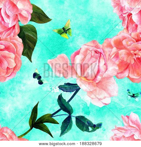 Seamless pattern with watercolor drawings of blooming pink roses, camellias, peonies, and butterflies, hand painted on a teal texture in style of vintage botanical art