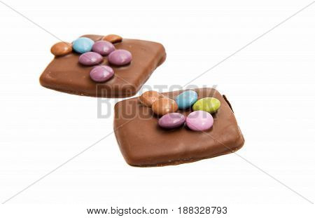 Chocolate german cookies pastry on white background