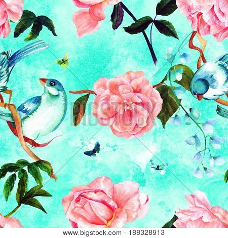 Seamless pattern with watercolor drawings of vibrant teal blue birds, blooming pink roses, camellias, and peonies, and butterflies, hand painted on a teal background in style of vintage botanical art