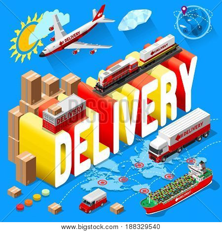 Banner for Delivery Services and Web E-Commerce. Vector illustration of International delivery and worldwide postage. Emailing and online shopping envelope and package. Isometric Design