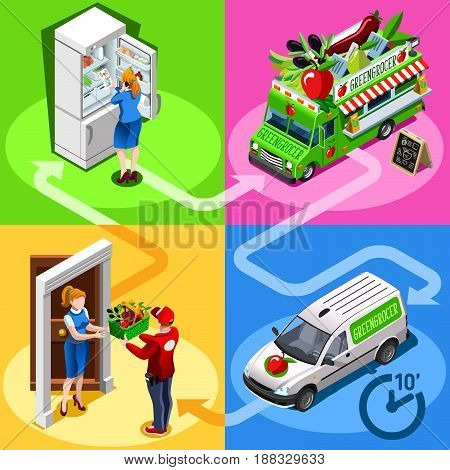 Greengrocer take away food truck and white car or van for vegetable fast home delivery vector infographic. Isometric people delivery man processing online order at the client customer door