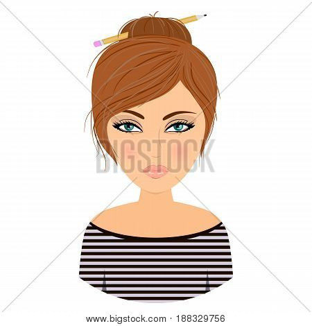Cartoon image of a cute girl. Beautiful eyes. Pencil in the hair. The girl creative. Stock vector.