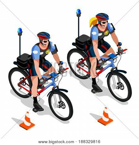 Police bicycle cops vehicle police man and police woman patrol. Vector isometric design