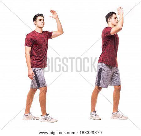 Split Jacks. Young Man Doing Sport Exercise.