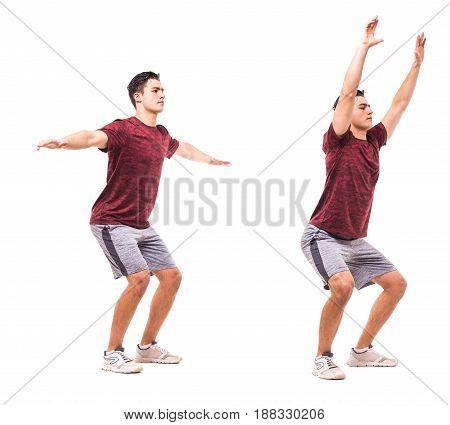 Squat Jacks. Young Man Doing Sport Exercise.