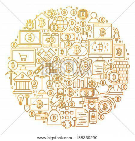 Bitcoin Line Icon Circle Design. Vector Illustration of Cryptocurrency Objects isolated over White.