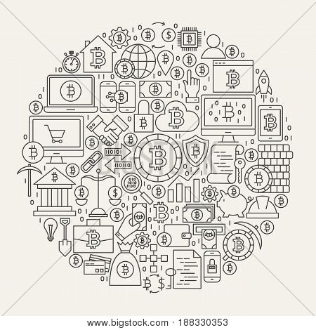 Bitcoin Line Icons Circle. Vector Illustration of Cryptocurrency Outline Objects.