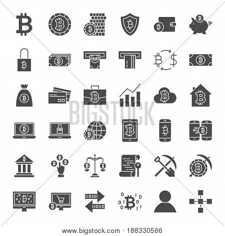 Bitcoin Solid Web Icons. Vector Set of Cryptocurrency Glyphs.