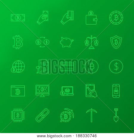 Crypto Currency Line Icons. Vector Set of Outline Bitcoin Items over Blurred Background.
