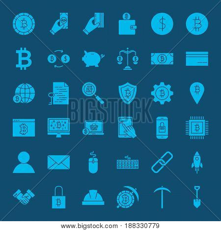 Cryptocurrency Glyphs Website Icons. Vector Set of Bitcoin Symbols.