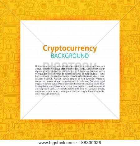 Cryptocurrency Paper Template. Vector Illustration of Paper over Bitcoin Outline Design.