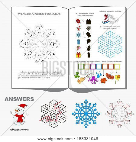Winter Seasonal Page with kid games. Hidden word, maze way and find shadow playing. Dot to dot educational game for kids.