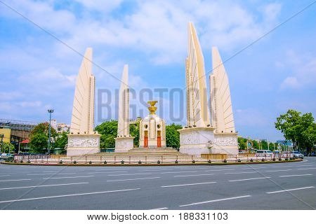 BANGKOK, THAILAND - MAY 20, 2017 : Democracy Monument, Public Monument in Centre of Bangkok.