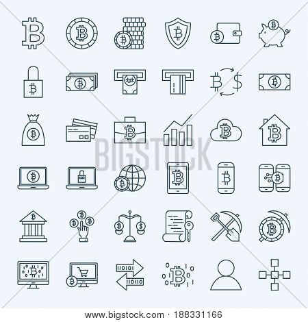 Line Bitcoin Icons. Vector Set of Thin Outline Cryptocurrency Finance Symbols.