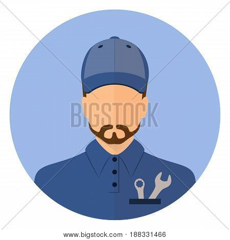 Stock vector. Male car mechanic. Repair  Wrench