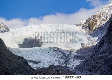 scene of franz josef glacier important natural traveling destination in south island new zealand