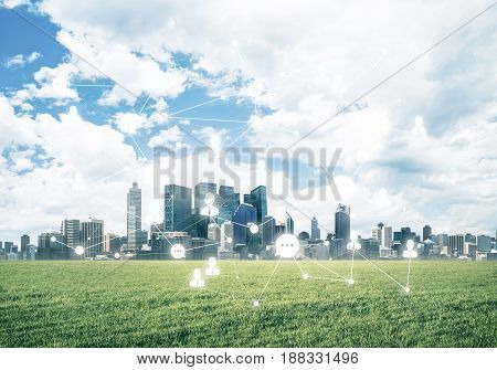Modern cityscape green grass and social connection concept on screen