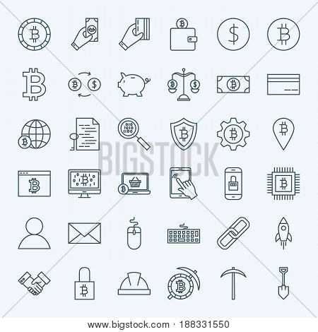 Line Cryptocurrency Icons. Vector Set of Thin Outline Bitcoin Finance Symbols.