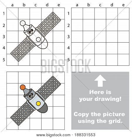 Copy the picture using grid lines, the simple educational game for preschool children education with easy gaming level, the kid drawing game with Space Station