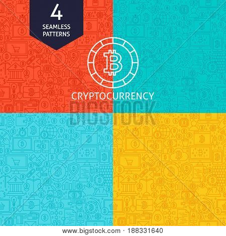 Line Cryptocurrency Patterns. Four Vector Website Design Seamless Backgrounds. Bitcoin Finance.