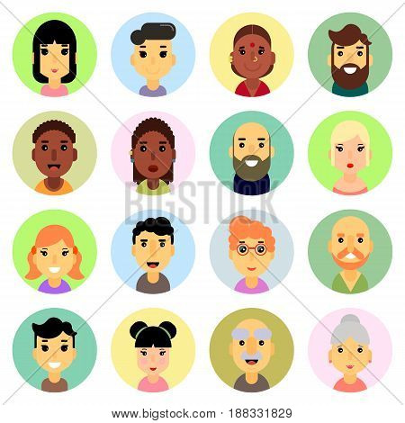 Icons set. flat design. People Nationality Stock vector