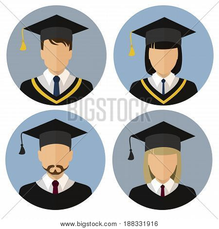 The icons set. Student, student. Avatar. A man and a woman. The medallion. Stock vector